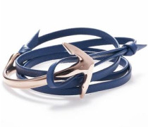 Wickelarmband 'Anchor leather blue 1403'