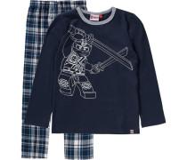 Schlafanzug 'Ninjago' für Jungen dunkelblau / grau / weiß