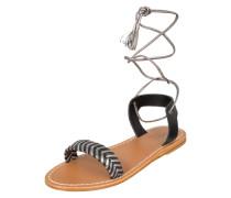 Sandale mit Bändern silbergrau / schwarz