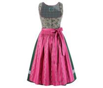 Dirndl mit traditionellem Blumendruck grün / pink