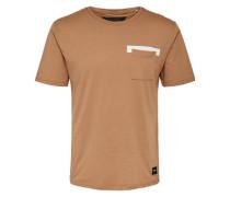 Bedrucktes T-Shirt hellbraun / weiß