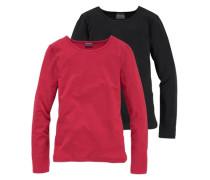 Langarmshirt mit Rundhalsausschnitt (Packung 2 Stück) für Mädchen rotmeliert / schwarz