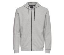 Sweat-Kapuzenjacke grau