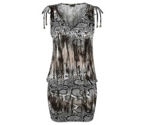 Kleid hellbeige / grau / schwarz / weiß