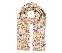 Schal mit Blumenmuster weiß / orange