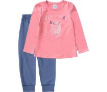 Eule Schlafanzug für Mädchen navy / rosa
