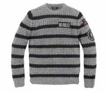Streifenpullover grau / schwarz