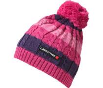 Bommelmütze für Mädchen dunkellila / pink / hellpink