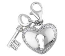 Charm 'Locked Heart' mit Steinbesatz silber