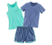 Pyjama-Set (3-tlg.) blau / grün