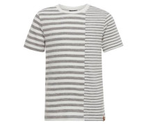 Gestreiftes T-Shirt graumeliert / weiß