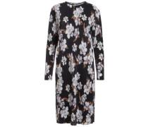 Plissiertes langärmeliges Kleid beige / schwarz / weiß