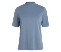 High-Neck-Oberteil blau