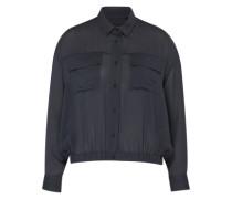 Bluse mit Brusttaschen grau