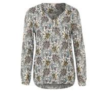 Bluse mit Blumen-Muster weiß