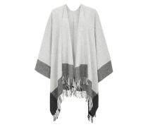 Poncho-Schal mit Wolle und Seide grau / weiß