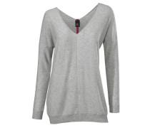 V-Pullover grau / pink