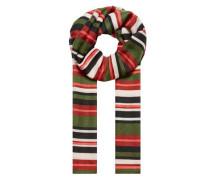 Streifenschal in Multicolor creme / grün / rot / schwarz