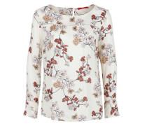 Florales Blusenshirt aus Crêpe creme / rostrot