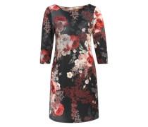 Kleid mit Blumendruck schwarz / mischfarben