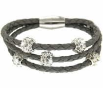 Armband 'Trice' dunkelgrau / silber / weiß