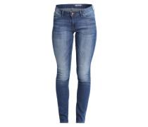 Skinny Jeans mit Waschung blau