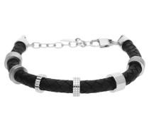 Armband Leder Schwarz/Silber 'Zac Jpbr10343A215' schwarz / silber