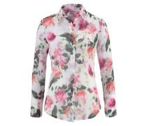 Hemdbluse Floral grün / pink / weiß / weißmeliert