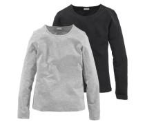 Langarmshirt mit Rundhalsausschnitt (Packung 2 Stück) für Mädchen graumeliert / schwarz