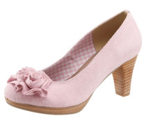 Trachten-Pumps mit Blumenapplikation rosa