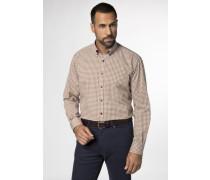 Langarm Modern Fit Hemd beige / senf / grau
