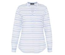 Tunika-Bluse mit Fischgrat-Querstreifen blau