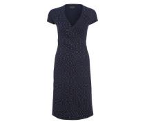 Jerseykleid in Wickeloptik dunkelblau / weiß