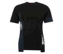 T-Shirt in Struktur-Mix petrol / schwarz