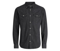 Jeans-Langarmhemd schwarz