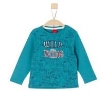Printshirt mit Stitching himmelblau / pastellorange / schwarz / weiß