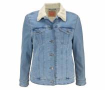 Jeansjacke blau / wollweiß
