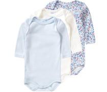 3er-Pack Bodys für Mädchen blau / hellblau / mischfarben / naturweiß