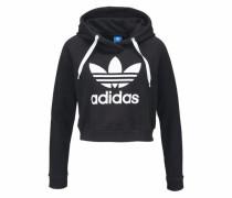 Sweatshirt 'trefoil Crop Hoodie' schwarz / weiß