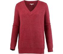 V-Pullover Damen rotmeliert