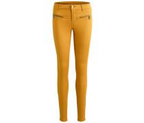Skinny Fit Jeans mit Reißverschluss braun
