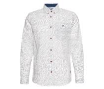 Hemd'Ray cool printed slub shirt' dunkelblau / weiß