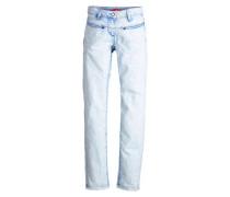 Suri Slim: Jeans mit Batik-Optik blau