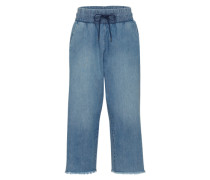 'Flow Crop' Jeans Culotte blau