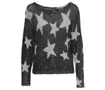 Star-Strickpullover schwarz