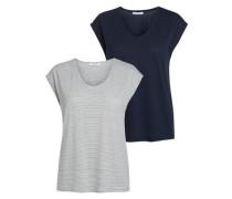T-Shirt 2er-Pack nachtblau / grau