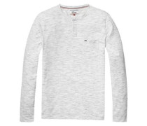 Hilfiger Denim T-Shirt »Thdm RLX HTR Henley Knit L/S 13« grau / weiß