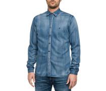 Jeanshemd aus weichem Modalmix-Denim blau