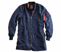Bomberjacke in Longform blau / orange
