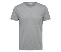 T-Shirt Rundhalsausschnitt grau / weiß